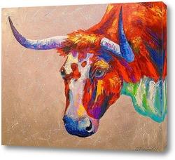 Постер Любознательный бык