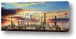 Постер Нефтяные вышки ночью