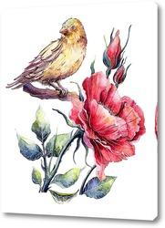 Шиповник и птица