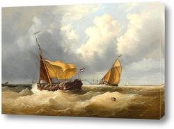 Лодки и пароход на расстоянии в море