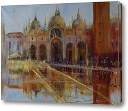 Постер Венеция.Дождь.Голуби.