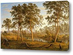 Вид на дом художника и сад на Земле Вандименовой,равнина Миллс