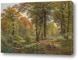 Картина Лесная поляна с оленями