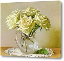 Картина Пять белых роз