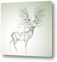 Постер Deer with antlers like Christmas tree / Surreal vector sketch
