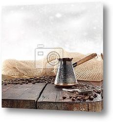 Кофе натюрморт на деревянной поверхности