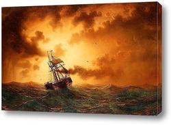 Моряк с обеспокоенным морем с парусным судном и пароходом