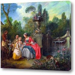 Дама в саду,взявщая кофе,разговаривает с детьми