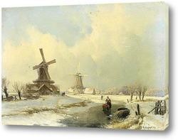Зимний пейзаж с двумя ветряными мельницами