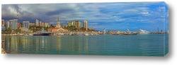 Панорама Сочи с гаванью морского порта