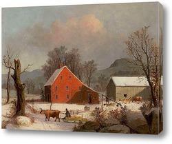 Зима в стране, холодное утро, около 1863