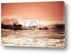 Постер Кайт-серфинг в волнах.