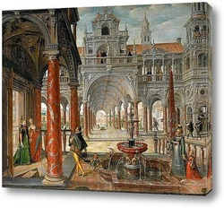 Картина Дворцовая архитектура с дворянами
