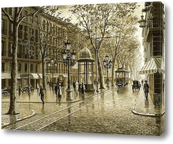 Картина Старая Барселона. Рамбла