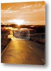 Постер Road at sunset