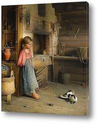 Постер Девочка с котятами