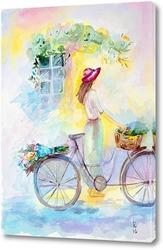 Картина Девушка и велосипед