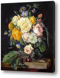 Натюрморт с букетом цветов, вишнями и часами (1655-1565) (Вена,