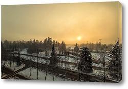Постер город в тумане