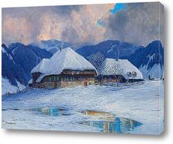 Постер Два дома в Шварцвальд, в зимний период.