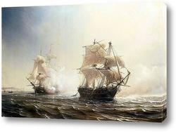 Постер Морской бой между французским и английским фрегатами Эмбускадом