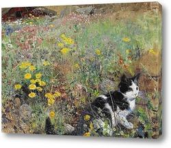Постер Кошка на цветочном лугу