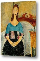 Постер Портрет Жанны Эбютерн, сидя, 1918