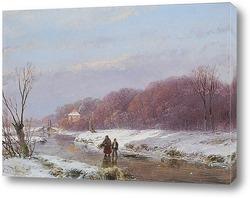 Конькобежцы на замерзшей реке.Харлем и фигуры на растоянии