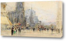Постер Эдинбург, угол Принцесс-стрит и Лотиан-роуд