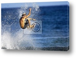 Кайт-серфинг в волнах.