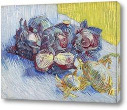 Картина Натюрморт с красной капустой и луком