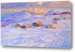 Поздний зимний пейзаж на закате.