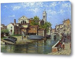 Басино-ди-Сан-Марко в Венеции.Рыбаки на венецианской лагуне (пар