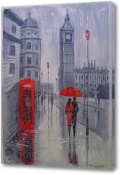Картина В Лондоне выпал снег