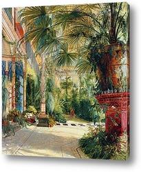 Внутреннее часть дома пальмы на острове павлинов около Потсдама