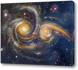 """Постер Картина: """"Столкновение галактик"""""""