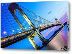 Постер Verrazano-Narrows Bridge мост на закате
