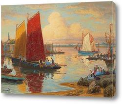 Картина Конкарно, Финистер, лодки и рыбаки на работе