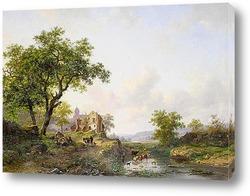 Постер Летний пейзаж с крупным рогатым скотом возле реки