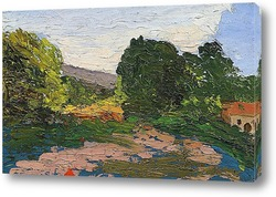 Деревья и дома на берегу Джас де Боуффан