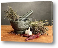 Постер Dried herbs in mortar and vegetables,