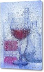 Постер Бутылки с вином за мокрым стеклом