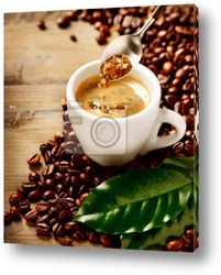 Постер Кофе Эспрессо. Чашка кофе и сахар