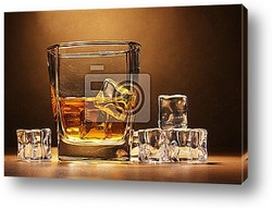 Постер Glass of scotch whiskey and ice