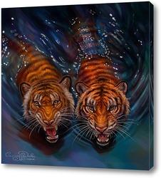 Постер Тигры в воде