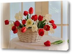 Постер Корзина полная тюльпанов