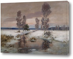Зимний пейзаж с потоком