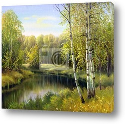 Постер Autumn landscape, canvas, oil