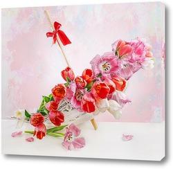 Постер С тюльпанами и зонтиком