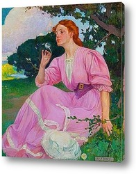 Картина Девушка дует на одуванчик